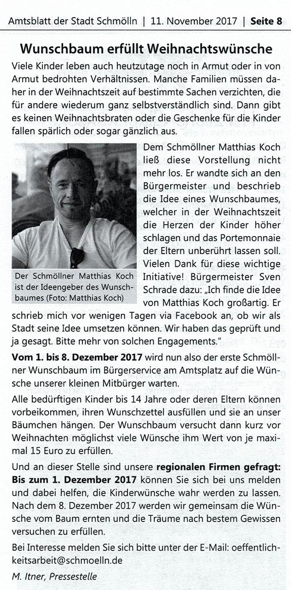 11.11.2017 Schmöllner Wunschbaum Weihnachten Matthias Koch