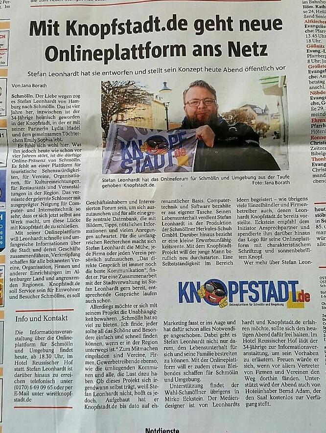 OTZ Artikel über Knopfstadt.de vom 03.03.2017