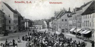um 1907 - Marktplatz Schmölln - Wochenmarkt - Knopfstadt.de