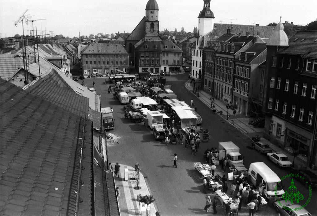 1990 - Marktplatz Schmölln - Wochenmarkt - Knopfstadt.de