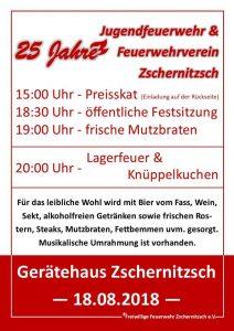 18. August 2018 - Freiwillige Feuerwehr Zschernitzsch e.V. - 25 Jahre Jubiläum