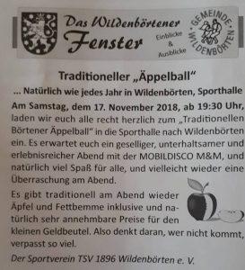 17. November 2018 - Wildenbörtener Äppelball - TSV 1896 Wildenbörten e. V.