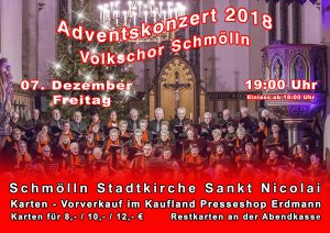07. Dezember 2018 - Adventskonzert 2018 - Volkschor Schmölln e. V.