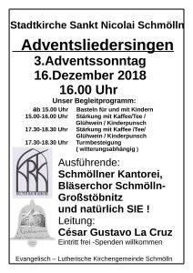 16. Dezember 2018 - Adventsliedersingen - Kantorei Schmölln, Bläserchor Schmölln - Großstöbnitz