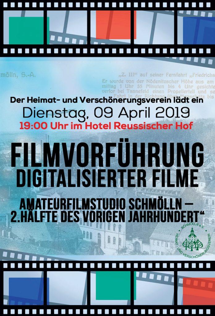 09. April 2019 - Filmvorführung digitaliserter Filme - Heimat- und Verschönerungsverein Schmölln e. V.