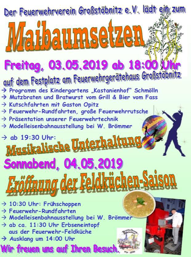 03. Mai 2019 - Maibaumsetzen - Feuerwehrverein Großstöbnitz e. V.