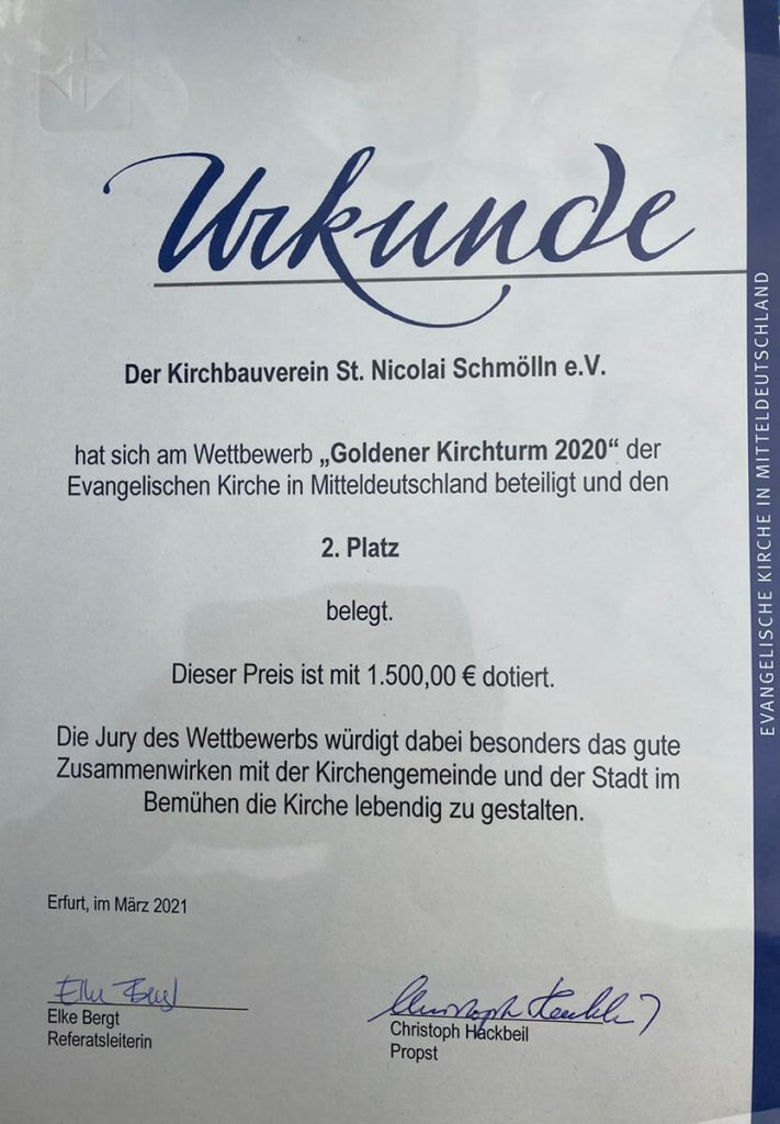 21-05-29 Goldener Kirchturm - Stadtkirche Sankt Nicolai Schmölln